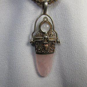 Unique Vintage Pink Quartz Silver Pendant Necklace